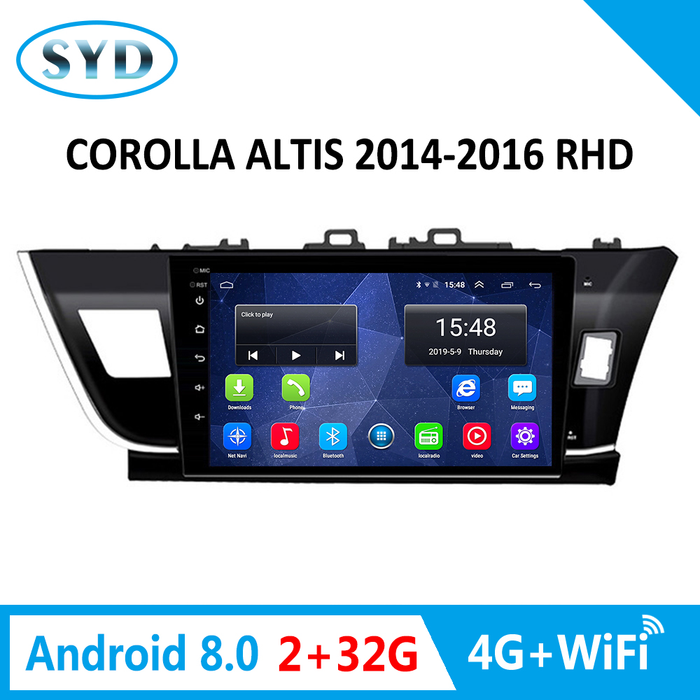 For <font><b>Toyota</b></font> Corolla AutoRadio Multimedia Player 2014-2016 Right Hand <font><b>Drive</b></font> Android 8.0 4G WiFi 10.1inch <font><b>Car</b></font> Audio stereo image