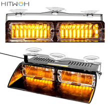 Amber Yellow 16 LED Warning Strobe Lights High Intensity Law Enforcement Emergency Hazard For Interior Roof Dash Windshield