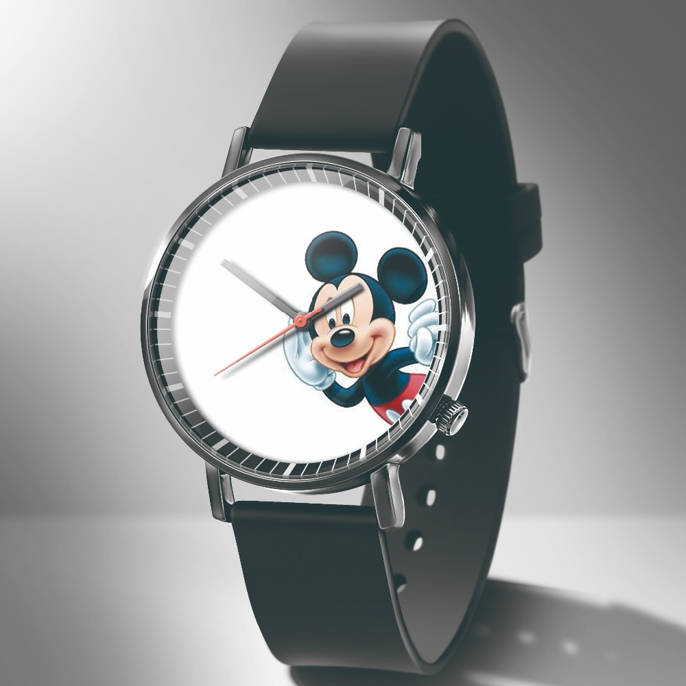 Reloj MujerNew Cartoon Children Watch Fashion Mickey Pattern Women Watches Leather Apple Quartz Student Watch Montres