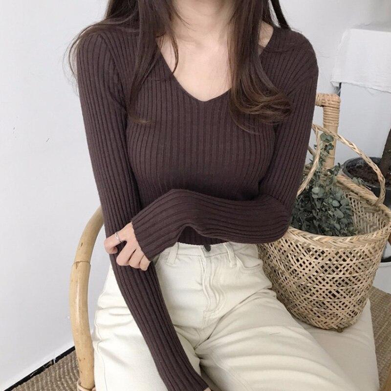 Jersey básico con cuello en V para mujer, suéter tejido de invierno 2019, suéteres negros de manga larga para mujer