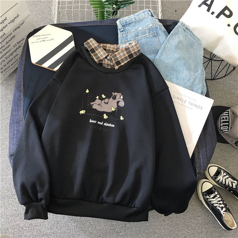 Autumn High Street Kawaii Girls Women Sweatshirt Fashion Pullovers Ladies Students Tops  Hoodies Casual  Ladies Korean Streetwea