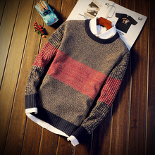 Men Autumn Winter Sweater Pullovers Jumper Men's O-Neck Mixed Color Fashion Youth Teens Trend New Long Sleeve Sweaters Men