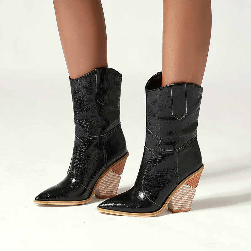 Herfst Vrouwen Laarzen Pu Lederen Wig Hoge Hak Enkellaars Puntschoen Winter Cowboy Laarzen Mode Westerse Laarzen Zwart Wit 2019