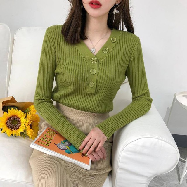Fashion Button Turtleneck Sweater Spring Autumn Solid Knitted Pullover Women Slim Soft Jumper Sweater Pink Kawaii Sweaters Girl