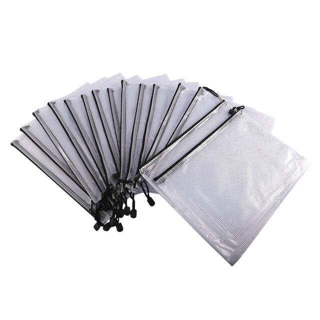 15 حزمة شبكة زيبر الحقيبة حقيبة مستندات A4 مقاوم للماء وثيقة الحقيبة للمدرسة اللوازم المكتبية ، عبر غرزة تنظيم التخزين