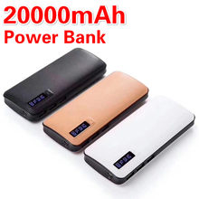 20000mAh Power Bank Leather Shell LED High Capacity 3 USB Portable Power Bank for Mobile Phone Iphone Xiaomi Huawei Power Bank(China)