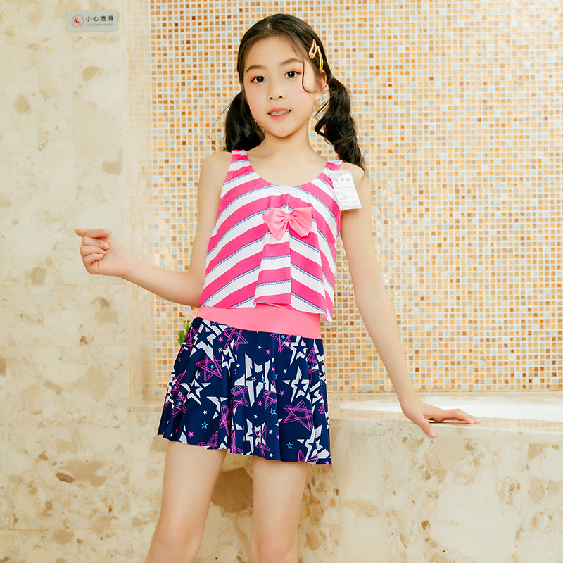 2019 New Style Children Bathing Suit 6-9-Year-Old Qmilch Two-piece Swimsuits Korean-style Bow Girls' Shirt