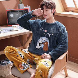 Мужская Фланелевая Пижама размера плюс 3XL, 4XL, 5XL, зимний пижамный комплект из флиса кораллового цвета, теплая Повседневная Домашняя одежда, о...