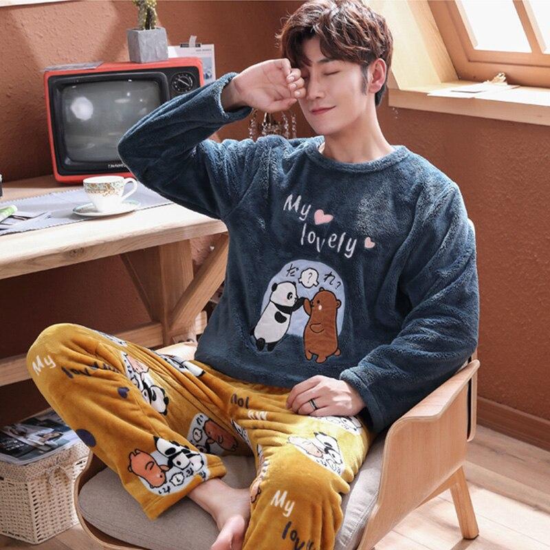 Plus Size 3XL 4XL 5XL Men Pajamas Winter Flannel Pajama Set Coral Fleece Thick Casual Homewear Warm Sleepwear