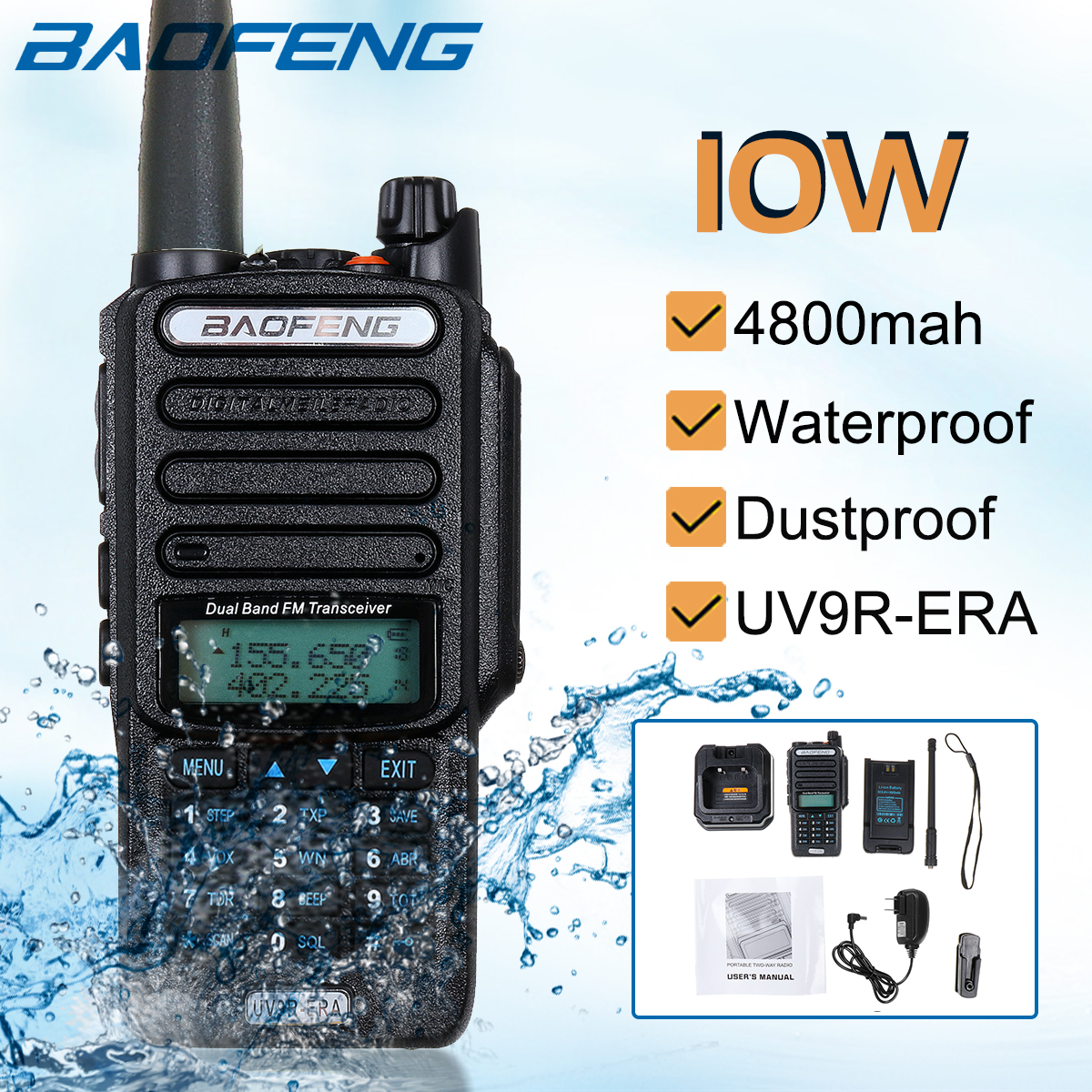 Baofeng UV9R-ERA Walkie Talkie Professional Radio Station Transceiver VHF UHF Portable Radio 15km Talk-Range 4800mah image
