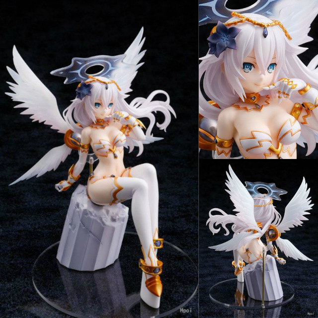 22cm Hyperdimension Neptunia Choujigen Game Neptune Noire Black Heart White Wings Sitting Ver. PVC Action Figure Collection Toys