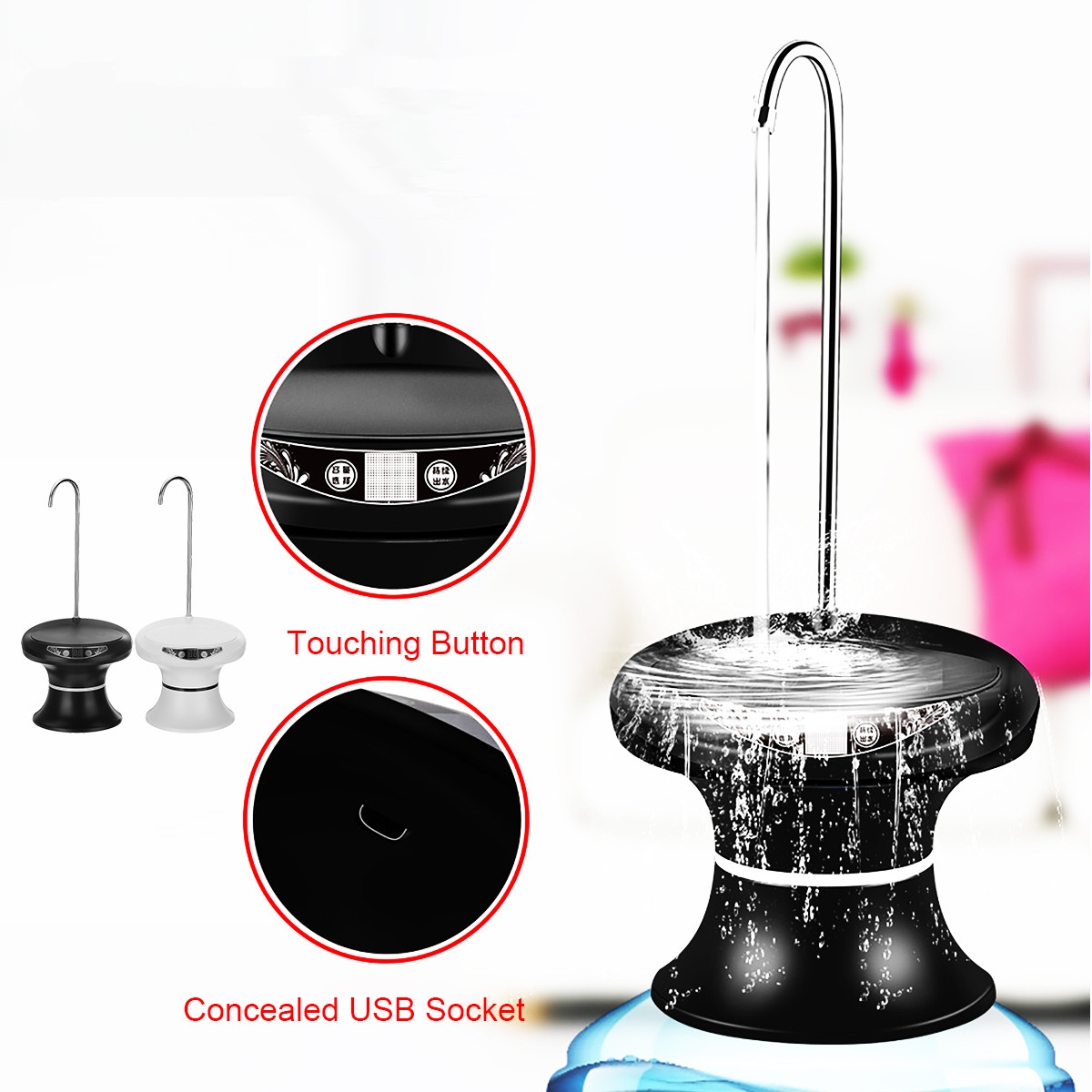 Wireless Automatic Electric Water Dispenser USB Rechargeable Water Pump Bucket Bottle Dispenser 5 Gears Capacity Selection