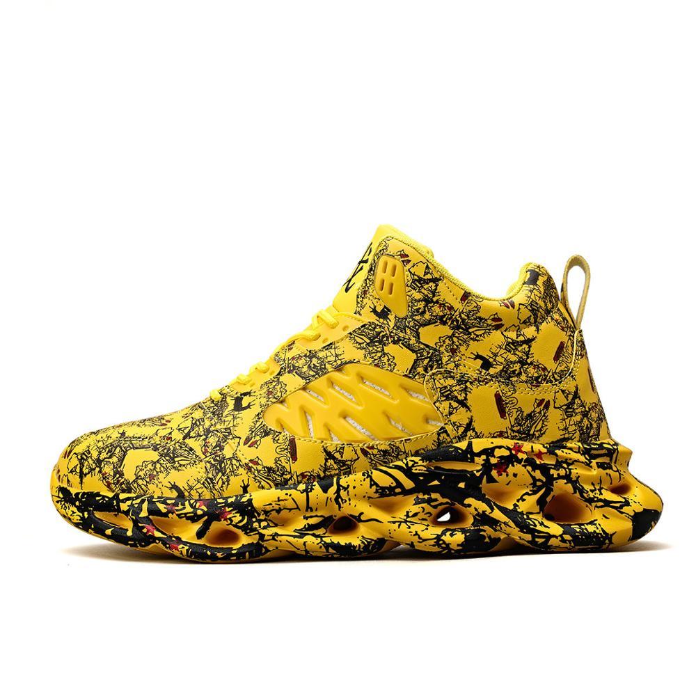 De Los Hombres De La Moda De Calzado Hip-hop Graffiti Alta Transpirable Deportes De Gran Tamaño Zapatos De Baloncesto Al Aire Libre Antideslizante Corriendo 39-46