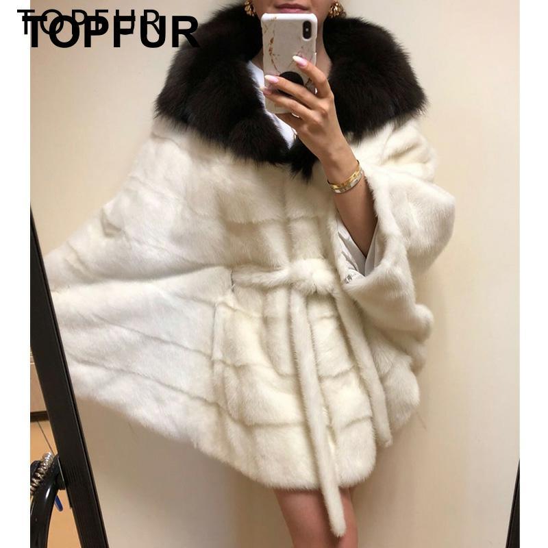 TOPFUR Luxury Loose Bat Sleeve Mink Fur Poncho Women White Coat Solid Natrual With Big Fox Turndown Collar