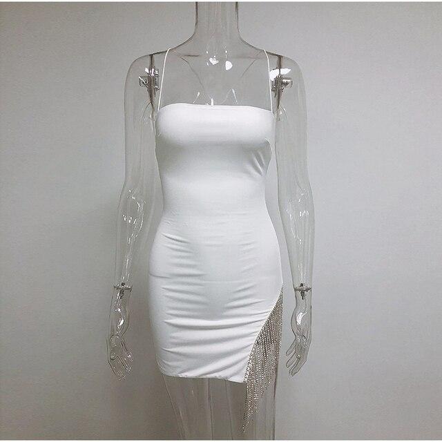 NewAsia 2 Layers Diamond Party Dress Women 2020 Summer Backless Tassel Hem Valentine Sexy Club Dress Elegant White Dress Mini 8