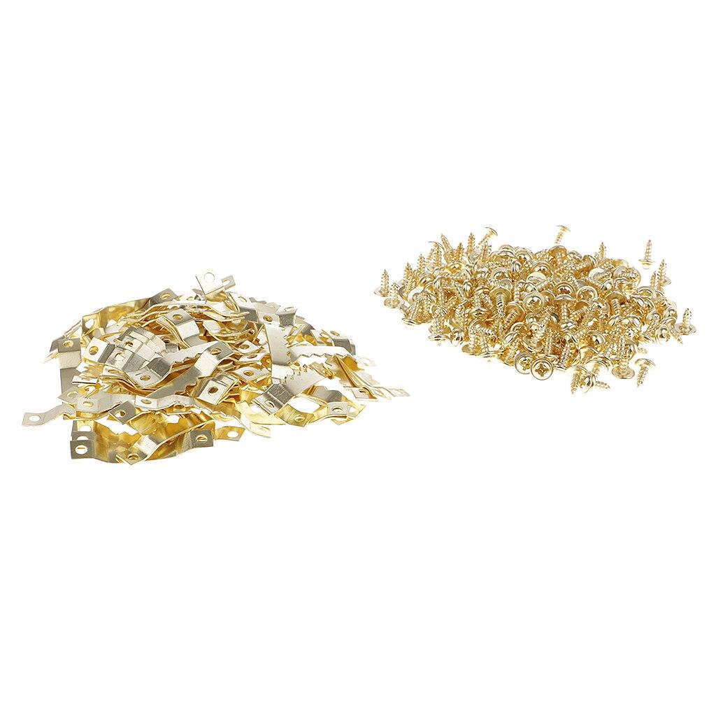 100 шт Золотой пилообразный рамка для картины вешалка висит фото стена картина маслом зеркало зубастой крючки с винтами, для домашнего испол...
