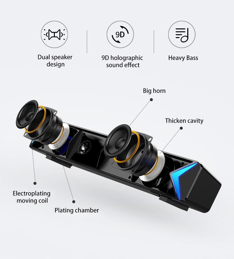 S13 Soundbar for TV Home Theater Computer Speaker Bluetooth Speaker Surround Sound Bar with AUX USB FM Radio 4