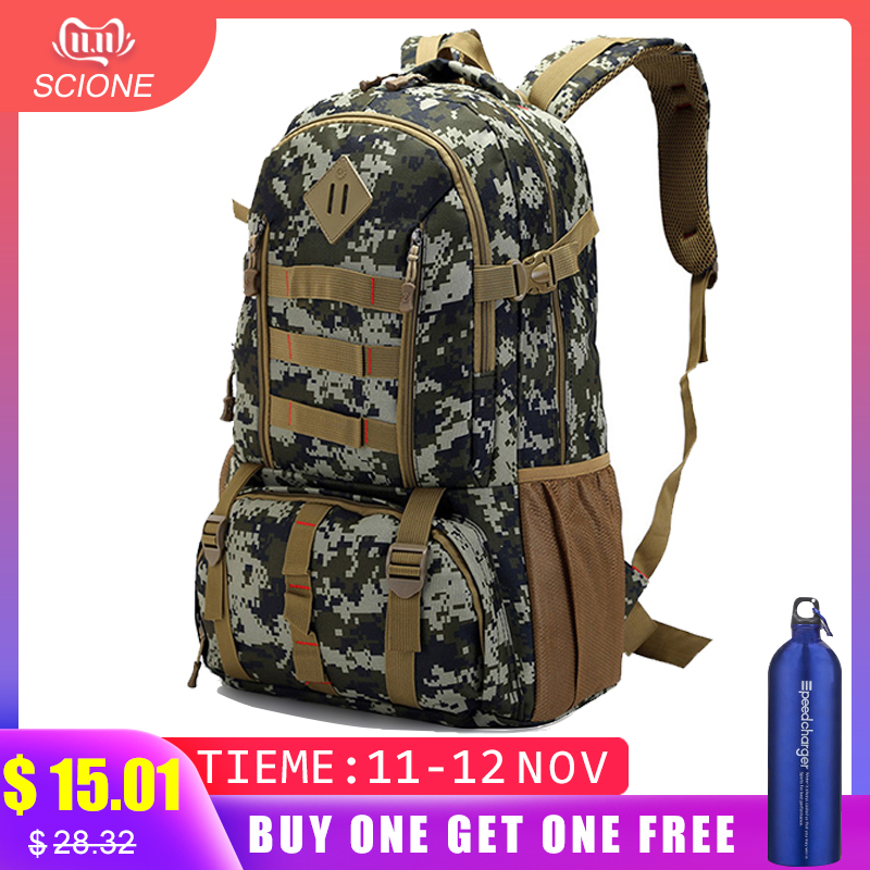 Hot Top Quality Large 50L Waterproof Molle Military Tactical Backpack Hunting Hiking Camping Rucksack Army Backpack Sports Bag