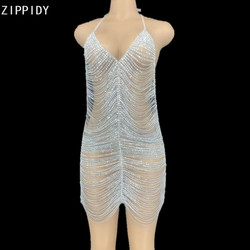Серебристые Стразы с цепочкой, короткое платье с открытой спиной, платье для выпускного бала, женское платье для танцев, наряд для дня рожде...