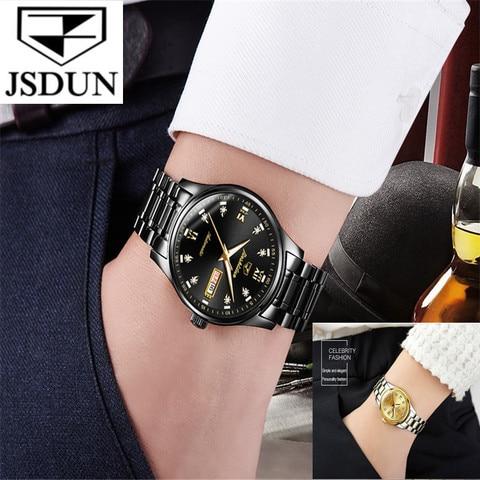 Automático à Prova Relógio de Aço Tungstênio para Homem Jsdun Moda Casal Relógio Mecânico Dwaterproof Água Movimento Importado Mulher Amante Presente