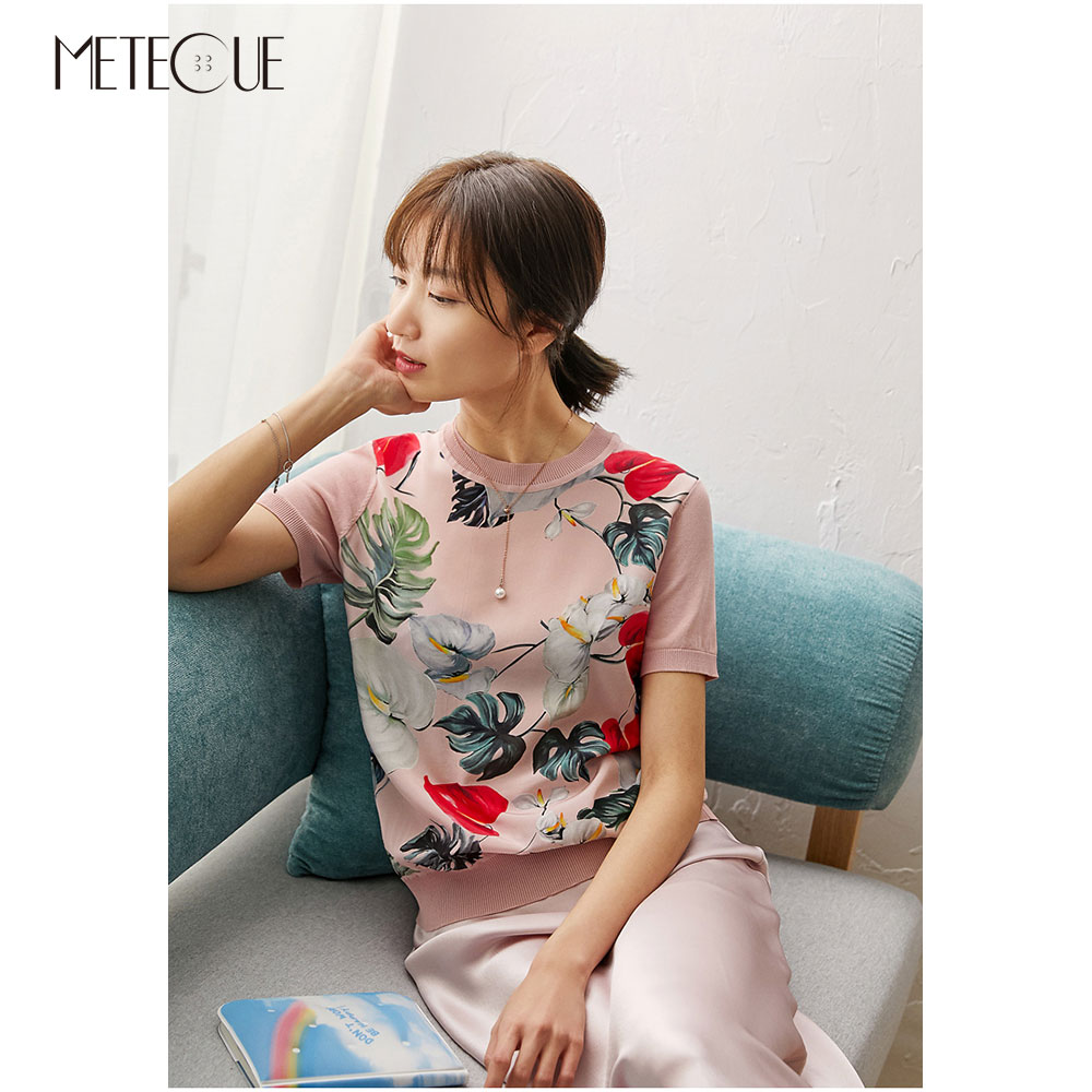 Silk Knitted Patched Floral Women Tops 2020 Spring Summer Fashion Short Sleeve Women Shirt And Blouses