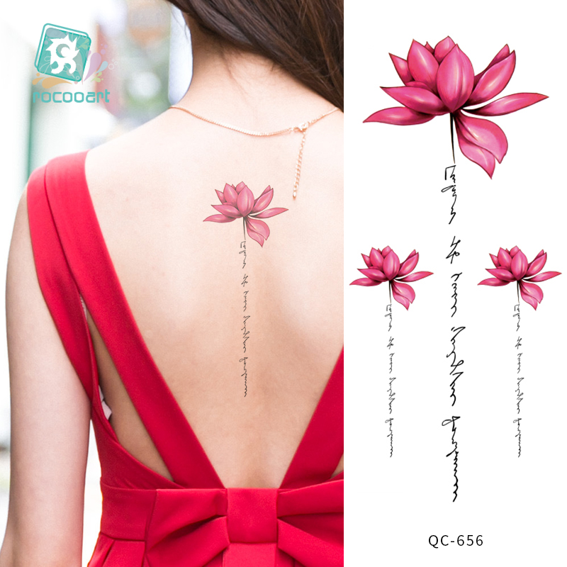 Rocooart 21x10cm Red Lotus Flower Water Transfer Tattoo Stickers Back Waist  Women Art Temporary Tattoo Girl Sexy Flash Tatoos