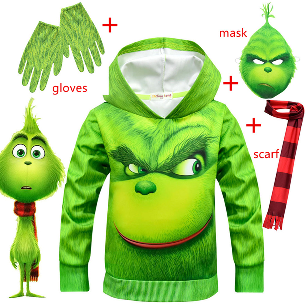 Christmas Grinch Cosplay Costume Hoodies Sweatshirts How The Grinch Stole Christmas Grinch Halloween Party Clothing+gloves+mask