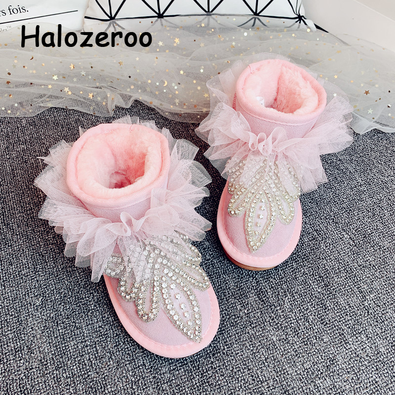 Kids Snow Boots Baby Girls Ankle Boots Toddler Sweet Genuine Leather Shoes Warm Brand Boots Rhinestone Slip On Boots Winter New
