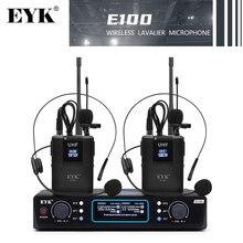 Eyk e100 uhf sem fio dupla bodypack microfone com fone de ouvido e lapela mic 60m distância adequado para conferência de fala em sala de aula