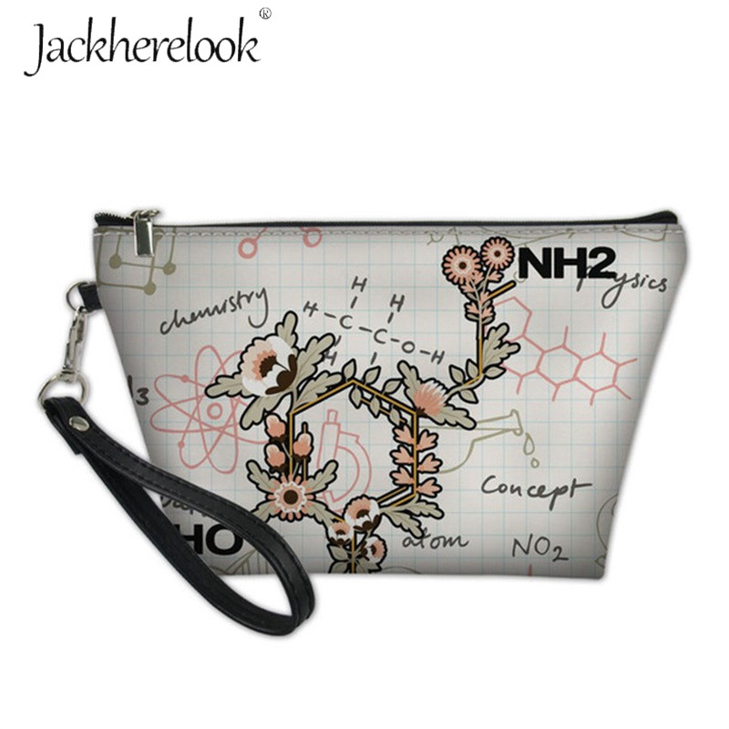 Jackherelook Pastel Floral With Chemistry Makeup Storage Bags For Female Mini Ladies Neceser Cosmetic Pouch Flower Toilerty Bag
