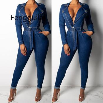 2020 Denim Jumpsuit Women Long Sleeve Front Zipper Jeans Rompers Women Jumpsuit With Sashes Plus Size Belted Streewear Overalls фото