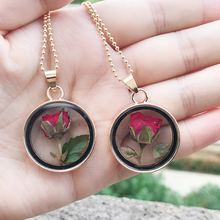 Flower Pendant Necklace Fine-Jewelry Rose/dandelion Glass Women New-Fashion Summer Dried