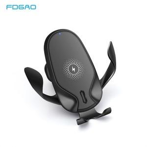 FDGAO 15 Вт Быстрое QI Беспроводное Автомобильное зарядное устройство крепление гравитационный зажим Быстрая зарядка держатель для iPhone 11 Pro X XR ...