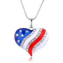 FDLK  Fourth of July Independence Day Commemorative Jewelry American National Flag Patriotic Jewelry Unisex Necklace Gift