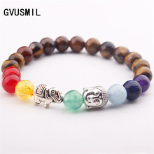 GVUSMIL 8mm Natural Round Stone Tiger Eye Beads Bracelets 7 Chakra Healing Meditation Prayer Women Jewelry