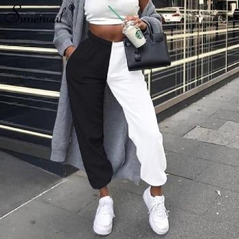 Simenual Casual Sporty Women Sweatpants Autumn Fashion 2019 Patchwork Trousers Workout High Waist Color Blocking Long Pants Slim 1