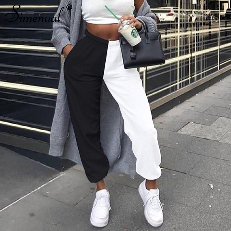 Simenual Casual Sporty Women Sweatpants Autumn Fashion 2019 Patchwork Trousers Workout High Waist Color Blocking Long Pants Slim