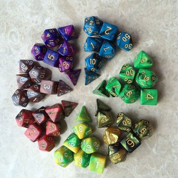 49 pcs Polyhedral Dice Dice for Dungeons and Dragon Board Game Dice (7 Sets) acrylic 10 side game dice green 5 pcs