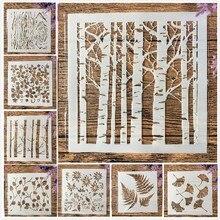 8 Pçs/lote 13 centímetros de Estratificação Da Folha Da Árvore de Ginkgo Forrest DIY Template Stencils Pintura Coloração Embossing Recados Álbum de fotos Decorativo