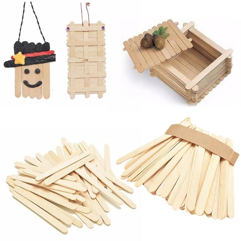 50pcs Ice Cream Sticks Natural Wooden Burlywood Ice-lolly Stick Kids Hand Craft Making DIY Ice Cream Popsicle DIY Craft