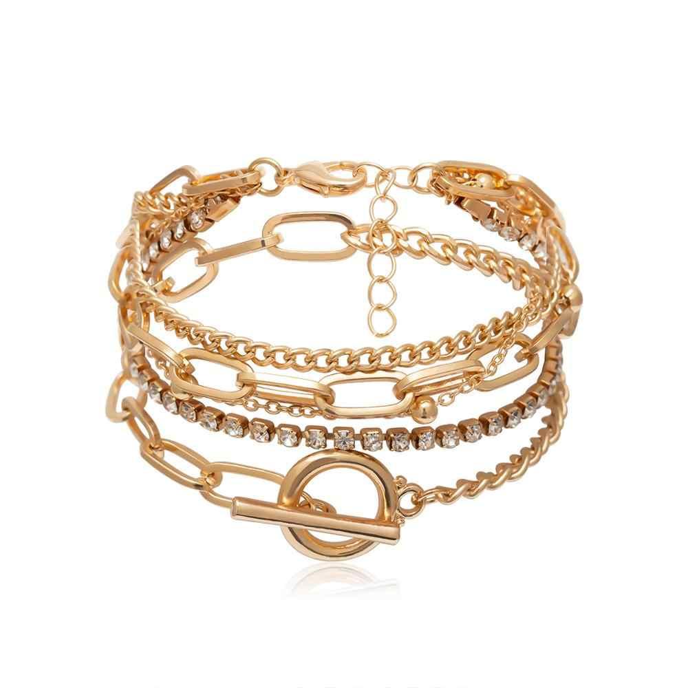 IngeSight.Z البوهيمي هندسية كريستال متعدد الطبقات أساور أساور Charm قابل للتعديل لاسو سوار مجموعة للنساء مجوهرات هدايا