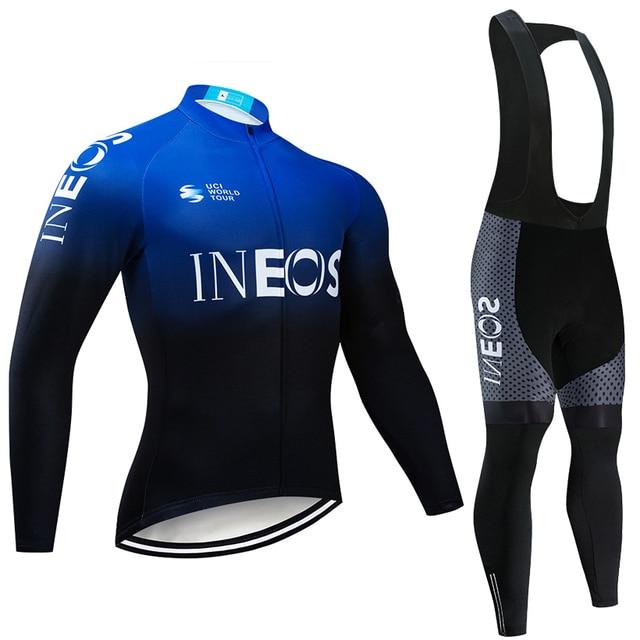 2019 Equipe de Ciclismo Jersey + 20D INEOS Padding Calças Conjunto Moto Ropa ciclismo MENS Inverno Térmicas Velo Pro Ciclismo Jersey maillo 3