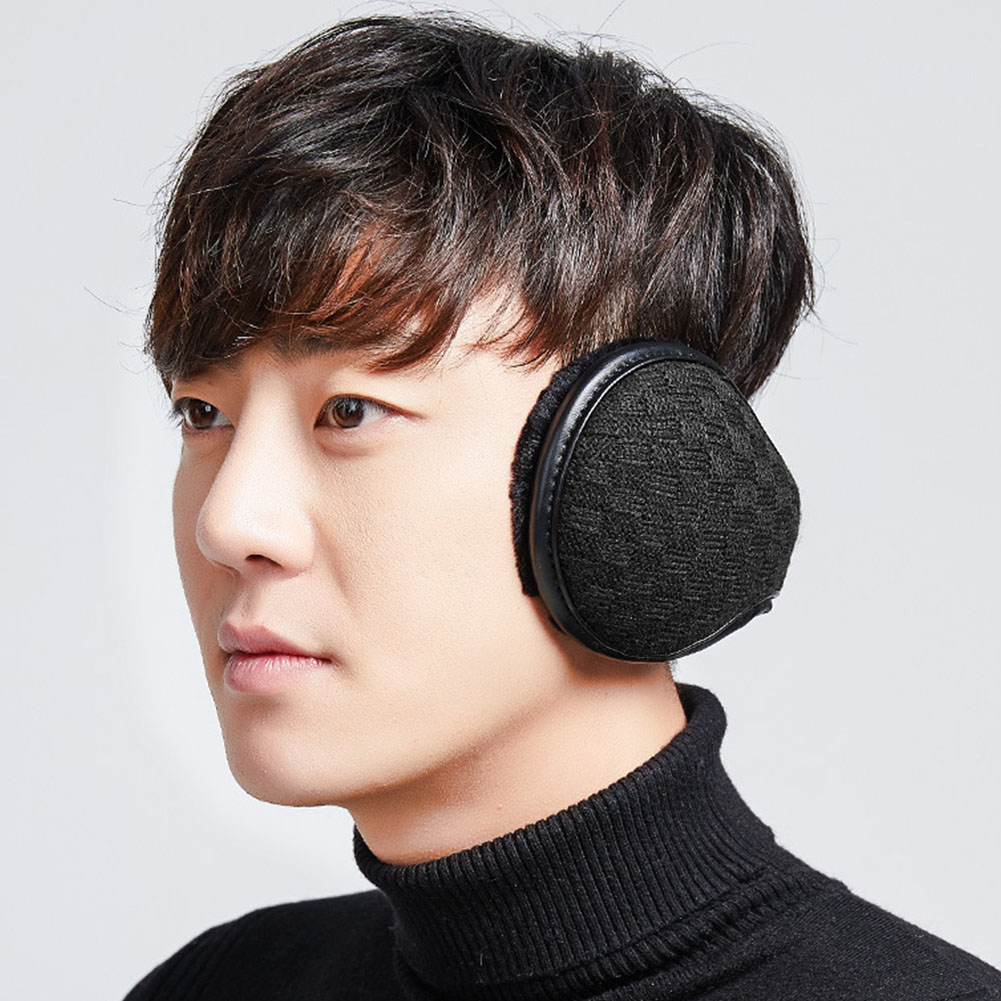 Men Ear Muffs Ergonomic Keep Warm Winter Hiking Cycling Accessories PU Leather Windproof Foldable Ear Protection