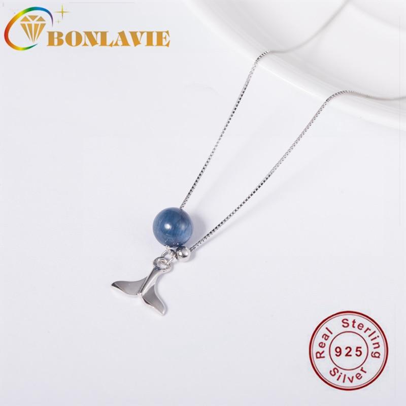 BONLAVI 925 Silver Kyanite Fishtail Necklace Female Mermaid Clavicle Chain Korean Necklace