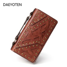DAEYOTEN Retro Women Wallet Large Capacity Steampunk Men Wallets New Fashion Rivet Purse Double Zipper Female Clutch Bag ZM0338
