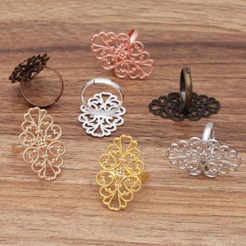 10pcs Adjustable Hollow Out Flower Motif Rings Oval 20*30mm Antique Bronze Vintage Party Accessories for Jewelry Making DIY