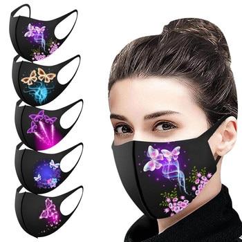Mascarilla De protección con forma De mariposa Para adultos, máscara lavable con...