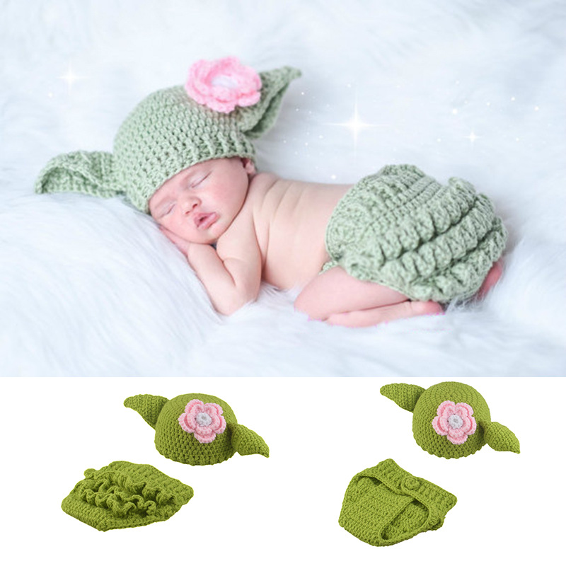 Newborn Girls Yoda Costume Hat+Pant Infant Crochet Yoda Photography Props Knitted Baby Clothing Newborn First Gift