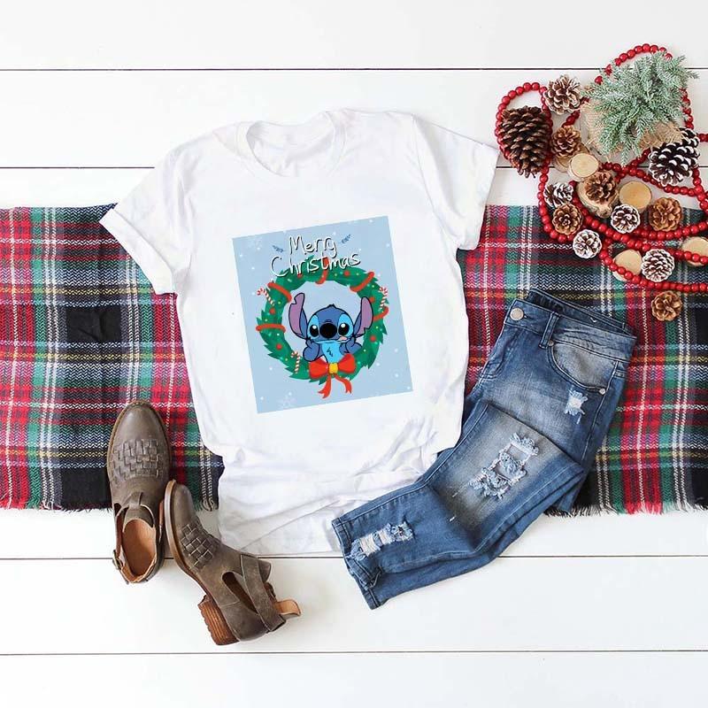 Showtly Lilo Stitch Merry Christmas Women T Shirt  Fashion Graphic Cute Tee Tops Kawaii TShirt Gothic Hipster Short Sleeve