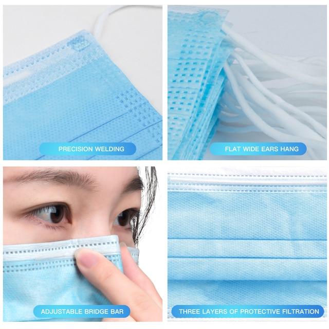 1000 pcs 3-Ply Non-woven Mask Disposable Respirators Face Masks Anti-Dust Anti Pollution Flu Masks Respirator Ear loop Free DHL 1